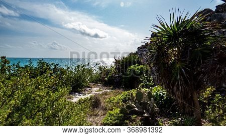Beautiful View Of The Ocean And A Peaceful Corner Of The Ancient Mayan City Of Tulum In Quintana Roo