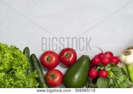 Flat Lay Of Fresh Vegetables With Copy Space. Clean Eating, Alkaline Diet