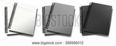 Empty Spiral Notebook White, Grey, Black. Illustration 3d Rendering. Isolated On White Background.
