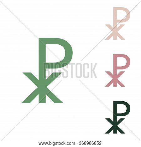 Constantine Cross Sign. Russian Green Icon With Small Jungle Green, Puce And Desert Sand Ones On Whi