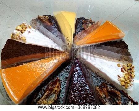 Sweet Birthday Natural Chocolate Souffle Cheesecake Fruit Cake Set Tasty Dessert Food Photo