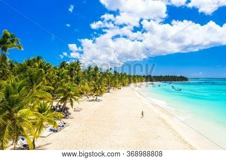 Aerial Drone View Of Beautiful Caribbean Tropical Island Beach With Palms. Saona, Dominican Republic