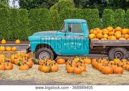 Abbotsford, Canada - September 07, 2019: Fresh Pumpkins On A Farm Near Very Old Truck Willow View Fa