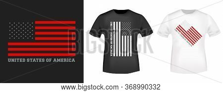 Usa Flag Design Print For T-shirt Stamp, Tee Applique, Fashion Typography, Badge, Label Clothing, Je