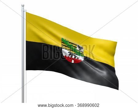 Saxony Anhalt Flag Waving On White Background, Close Up, Isolated. 3d Render