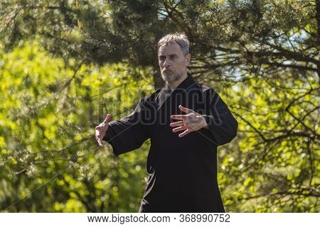 A Male Tai Chi Master Practices Qigong In Nature In A Park