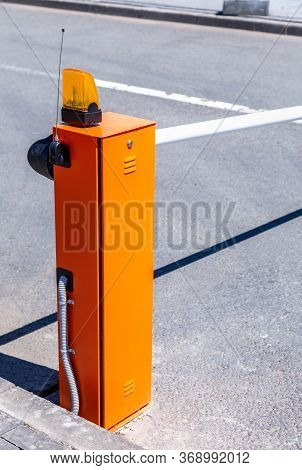 Automatic Rising Arm Barrier For Entry Or Stop Traffic. Boom Barrier Gate Acces Entry