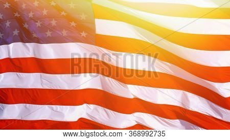Vintage Overlay Effect. Usa American Flag Background Texture. American Flag Background Waving In The