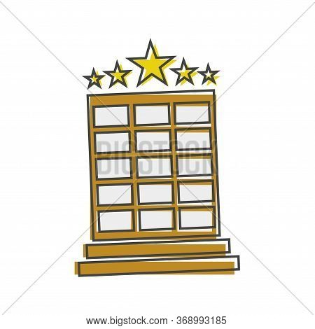 Vector Hotel Image. Hotel Business Icon. Image Icon Of A Five-star Hotel Cartoon Style On White Isol