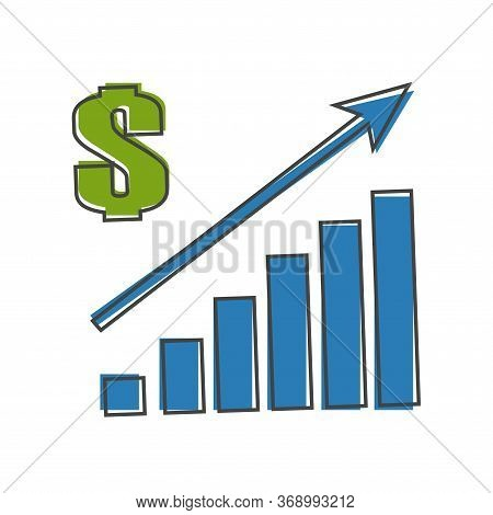 Vector Image Of A Chart Of Financial Growth. Finance Raising Icon, Money Increase. Sales Increase Ca