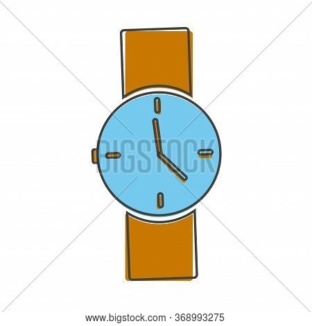 Vector Image Of A Wristwatch. Clock Icon On A Light Cartoon Style On White Isolated Background.