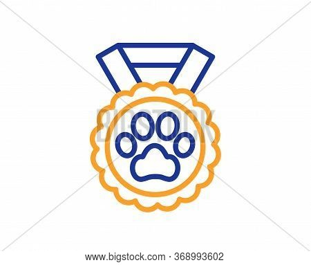 Dog Competition Line Icon. Pets Award Sign. Champion Winner Prize Symbol. Colorful Thin Line Outline