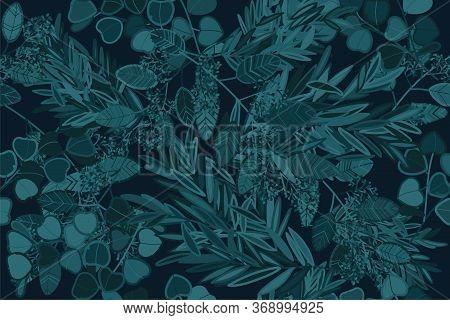 Eucalyptus Twigs Seamless Pattern.  Botanical Textile Ornament. Tropical Vector Design. Botanical Fl