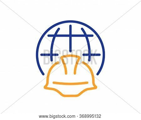 Global Engineering Line Icon. Engineer Or Architect Helmet Sign. World Construction Symbol. Colorful