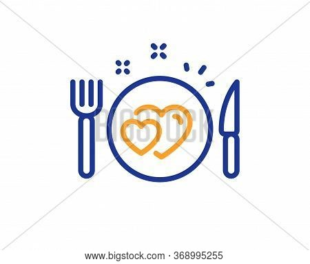 Romantic Dinner Line Icon. Valentines Day Food Sign. Couple Relationships Symbol. Colorful Thin Line