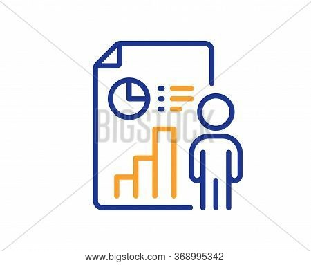 Business Report Line Icon. Employee Results Sign. Organization Statistics Symbol. Colorful Thin Line