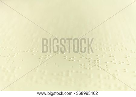 Plain Braille Page. Macro Photo. Stock Pic