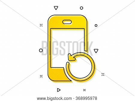 Backup Data Sign. Recovery Phone Icon. Restore Smartphone Information Symbol. Yellow Circles Pattern