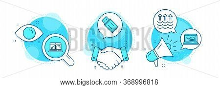 Usb Flash, Web Analytics And Graph Laptop Line Icons Set. Handshake Deal, Research And Promotion Com