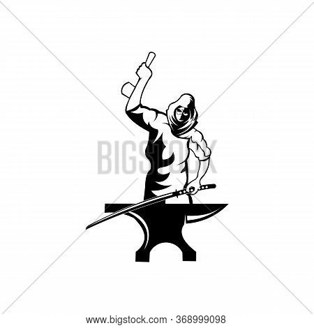 Smithy Logo. Stylized Blacksmith Silhouette Working With Hammer And Anvil,simple Modern Vector Hamme