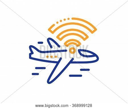 Airplane Wifi Line Icon. Aircraft Wi-fi Sign. Inflight Internet Symbol. Colorful Thin Line Outline C