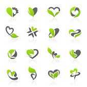 Eco themed design elements in shape of heart. Vector logo template set. poster