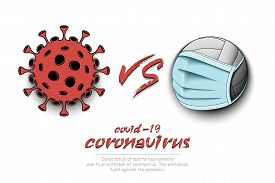 Banner Volleyball Vs Covid-19. Volleyball Ball With A Protection Mask Against Coronavirus Sign. Canc
