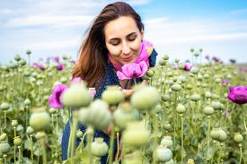 Beautiful Woman Smelling Flowers In Nature. Happy People Lifestyle. Woman Smelling Flowers In Sunshi