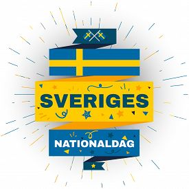 National Day Of Sweden. Independence Holiday Card