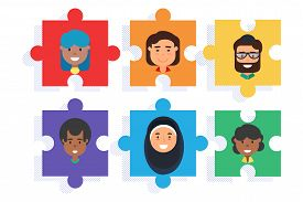Diverse Team On Puzzle, Diversity And Teamwork