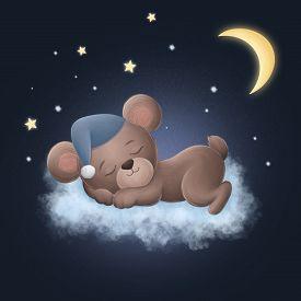 Cute Little Bear Sleeping On A Cloud. Digital Illustration