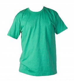 Reatro Heather Green T-shirt Isolated On A White Background. Summer Cotton Short Sleeve T-shirt