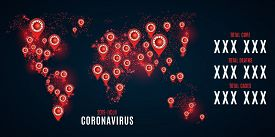 World Statistics Covid 19 Infection On A Futuristic World Map. Hi-tech Modern Design. Markers With T