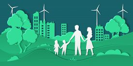 Eco City And Family. Paper Cut Smart City With Green Energy Ecosystem And Happy Family, Friendly Eco
