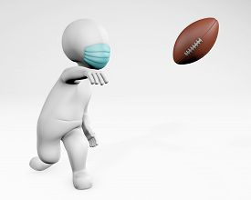 Fatty Man With A Mask Playing American Football 3d Rendering, Isolated On White