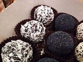 Chocolate Fruit Sweets Coconut Flakes Poppy Sesame Food Tasty Dessert Macro Photo