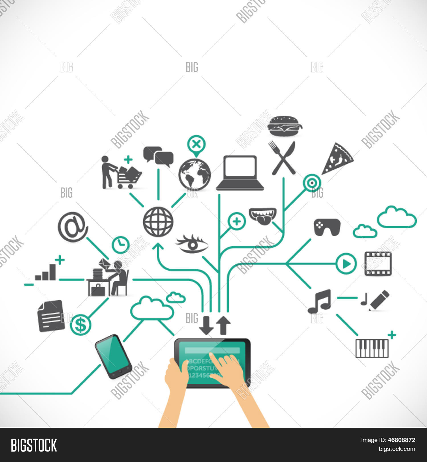 Exploring virtual vector photo free trial bigstock exploring the virtual world with smart devices social media time management work freerunsca Images