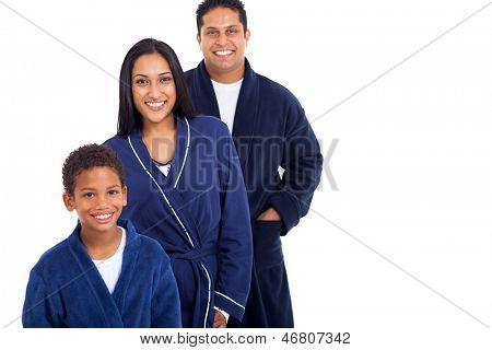 cheerful young indian family in nightclothes isolated on white