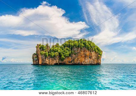 High Cliffs On The Tropical Island.