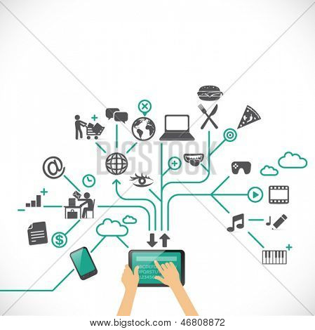 Exploring the virtual world with smart devices: social media, time management, work, games, music, navigation, entertainment, food etc... Infographic illustration