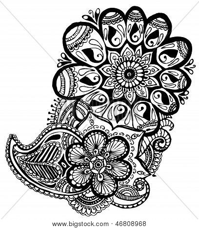 Indian pattern with black swirls on a white background.