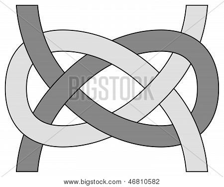Carrick Bend (Josephine) knot isolated on white