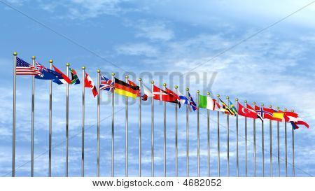 World Flags On Sky Background