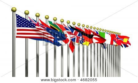 World Flags On A White Background