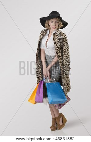 Shopping Girl With Hat And Leopard Coat