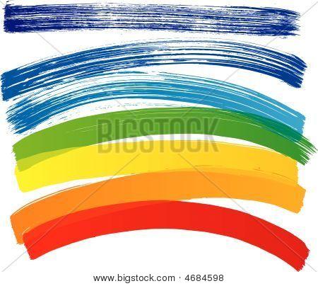 Vector Set Of Multicolored Strokes