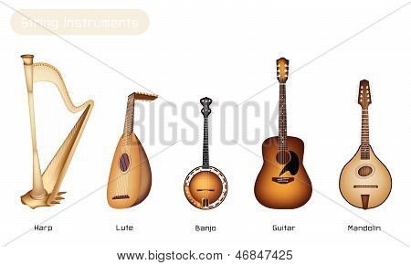Different Kind of Beautiful Antique Musical Instrument Strings Bluegrass Mandolin Banjo and Lute on Beautiful Vintage Brown Stage Background with Copy Space for Text Decorated . poster