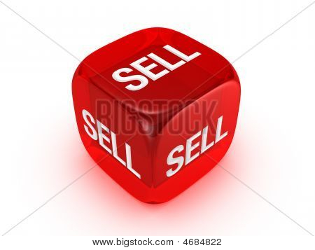 Translucent Red Dice With Sell Sign
