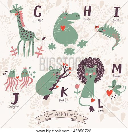 Cute zoo alphabet in vector. G, h, i, j, k, l, m letters. Funny animals in love. Giraffe, hippo, iguana, jellyfish, koala, lion, mouse.