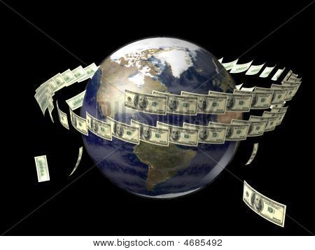 Earth With Flying Dollars Around It